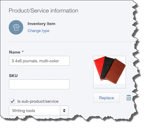Figure 1: You can build a database of product and service records using QuickBooks Online's inventory management tools.